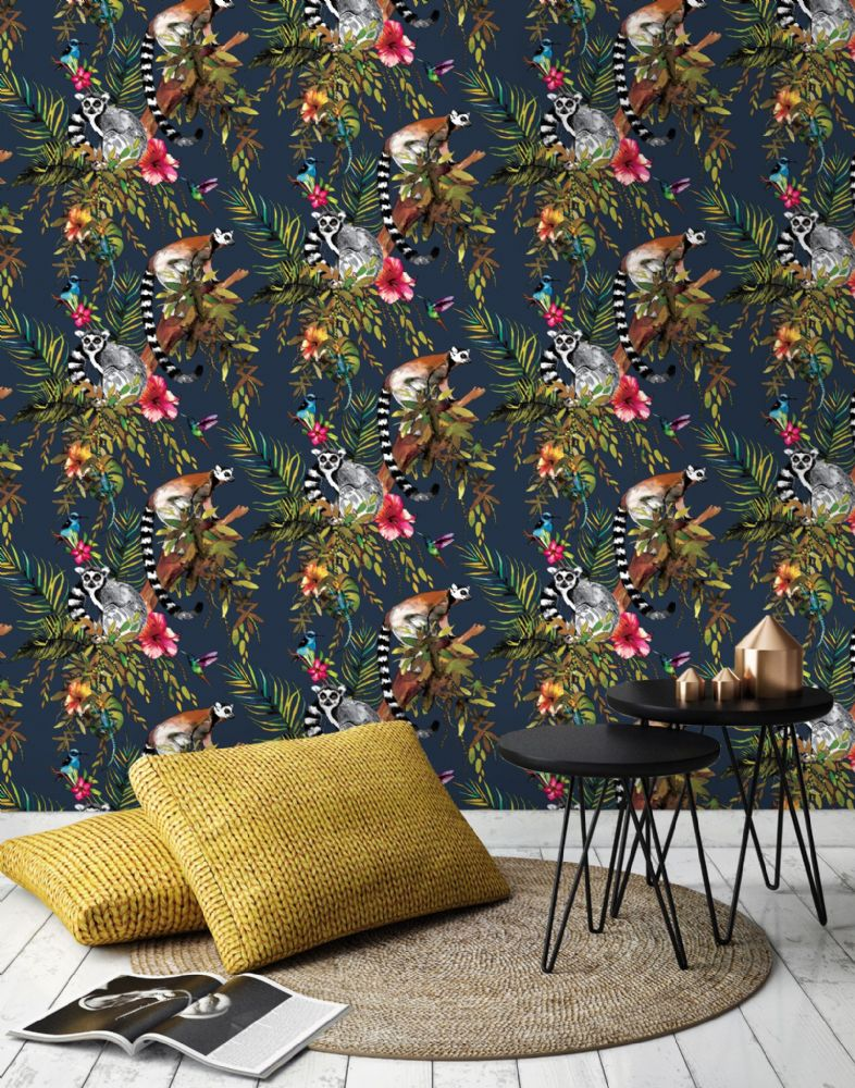 Holden Decor Lemur Midnight Blue 12403 Wallpaper